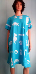 Jostar-COTTON-Fish-Print-Short-Sleeve-T-Shirt-DRESS-Blue-Coral-Red-Green-2X