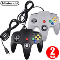 Black Gray Wired Nintendo 64 N64 Usb Controller For Pc & Mac Computer Game