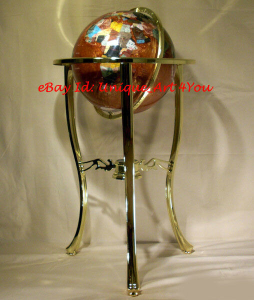 "36"" Tall Amber Pearl Gemstone World Globe with Tripod Gold Floor Stand"