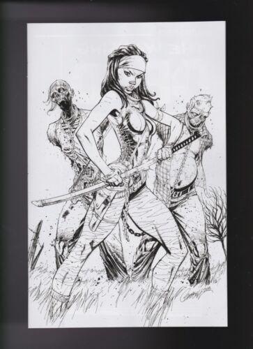 Walking Dead #19 J Scott Campbell B/&W INK Variant VIRGIN 2018 15th WDD