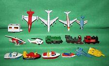 "*16 1970-1980's Matchbox Lesney Diecast Planes, Boats, Trains Lot Loose 3"" Long"