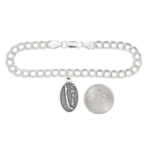 LGU® Sterling Silver Oxidized Chile Travel Charm with Option