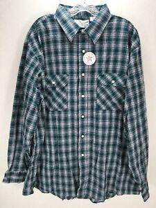 Vtg-Sears-FIELDMASTER-flannel-shirt-plaid-trucker-perma-prest-USA-Sz-2XL-Blue