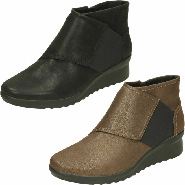 26b5bd8609dd Ladies Clarks Cloudsteppers Zip up Ankle BOOTS Caddell Rush Bronze ...