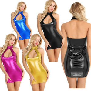 Sexy-Women-Lady-Lingerie-PU-Leather-Wet-Look-Bodycon-Halter-Mini-Dress-Club-Wear