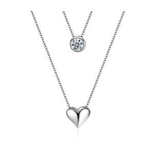 Kette-925er-Silber-Doppelkette-Herz-Damenkette-Halskette-NEU-Mehr-im-Shop