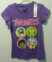 Girls Avengers Sparkle Cap Sleeve T Shirt Blouse Top Size S 6 L 10/12 Purple