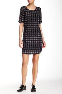 Women-039-s-Daniel-Rainn-Short-Sleeve-Shift-Dress-Black-Size-XS