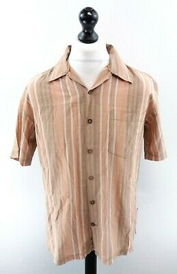 Fat Face Mens Shirt Short Sleeve M Medium Orange Green White Stripes Cotton 100% Garantie