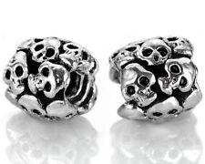 Silver Skull Spacer Beads For European Charm Bracelets Halloween Charms 1-SKL1