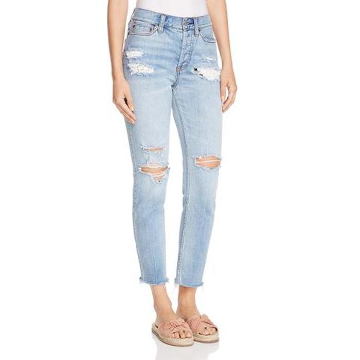 Free People Lacey Stilt Ella bluee Denim Distressed Jeans Sz 24 26 27  128 NWT
