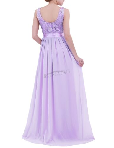 UK Women Formal Lace Long Dress Prom Evening Party Cocktail Bridesmaid Wedding
