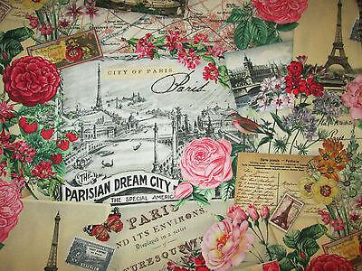 VINTAGE PARIS DREAM EIFFEL TOWER ROSE SCRIBE CREAM COTTON FABRIC FQ 16 1/2 Inch