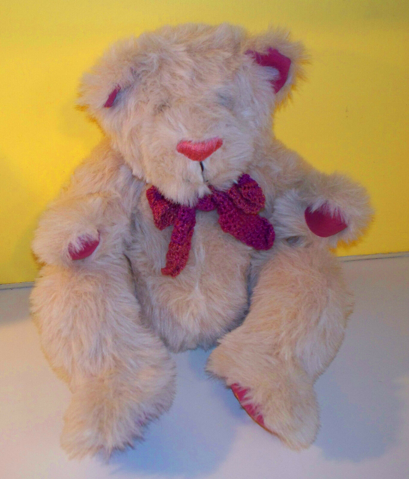 Fully Jointed Shaggy Shaggy Shaggy Blonde Teddy Bear Flowers On FeetPlush Stuffed Animal a660ea