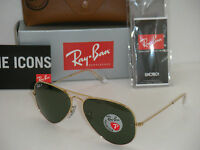 Authentic Ray-ban Aviator 3025 Gold Frame Green Polarized Rb 3025 001/58 58mm