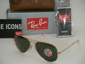 ray ban aviator polarized 58mm  RAY BAN AVIATOR 3025 GOLD FRAME NATURAL GREEN POLARIZED RB 3025 ...