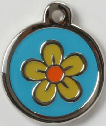 Color Filled Heavy Duty yellow flower Pet Tag PRETTY!