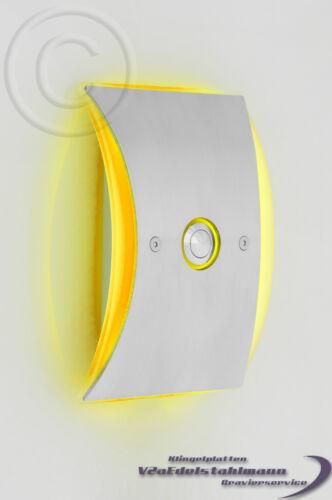 sonnerie plaque sonnette gravure possible. sonnette Acier inoxydable LED virent jaune