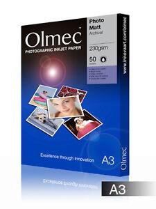 Olmec-230gsm-PHOTO-Archival-MATT-a-Getto-D-039-inchiostro-Carta-Fogli-A3-50