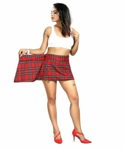 Wrap Mini Jupe Femmes Taille Haute Rouge Contrôles Tissée Boutonnée jupes courtes