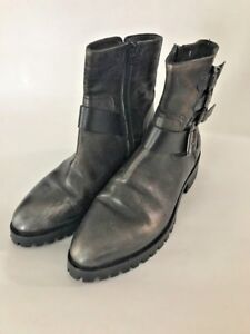 f1ffb47631b52 Details about Italian Leather Lug Sole Booties Womens Size 38 US 7.5  Distressed Leather Lined