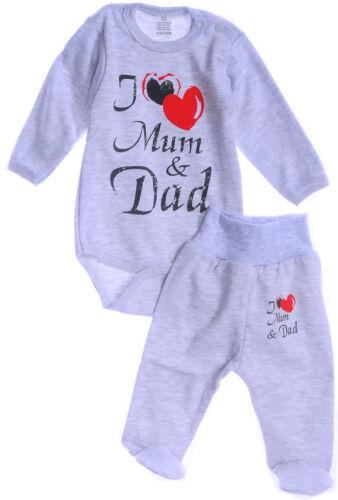 Body Hose SET 62 68 NEU Grau Erstlingset Baby Kombi Mum Dad Mama Papa Liebe NEU