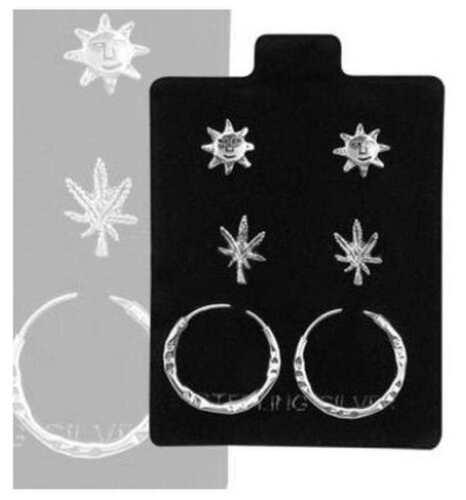 Sun /& Bali Hoop Earrings 3 Pair Set Inox Pot Leaf