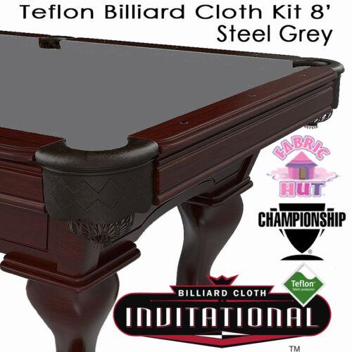 Championship Invitational Teflon Woolen Billiard Pool Table Cloth Steel Grey 8/'