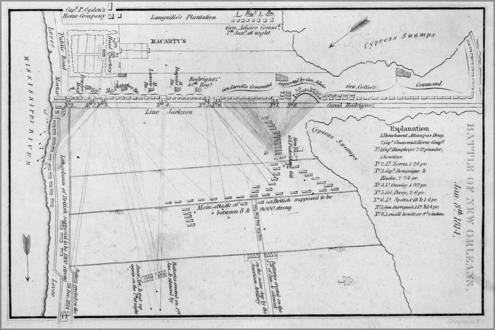 Plakat, Viele Größen; Karte Kampf von New Orleans 1815