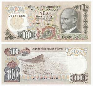 1972 P-189 UNC Turkey 100 Lira 1970