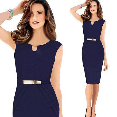 Women Retro Sleeveless Vintage Wear To Work Evening Party Bodycon Slim Dresses