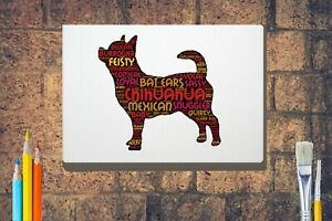 Chihuahua-Word-Art-Canvas-A4-A3-A2-A1-Dog-Mothers-Day-Gift-Personalised-Option
