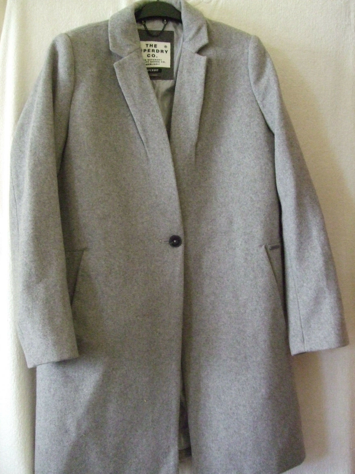 NEW  SUPERDRY LARGE SIZE 14 ICE GREY MARL WOOL BLEND ISTEGADE COAT
