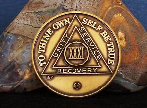 Alcoholics Anonymous AA 31 Year Bronze Medallion Token Coin Chip Sobriety Sober