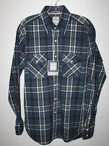 Mens-Size-M-Blue-Plaid-Button-Down-Shirt-Long-Sleeve-by-Non-Fiction-NEW-NWT