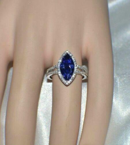 7 Carat Blue Tanzanite /& Diamond Cocktail Ring In 14k White Gold Over