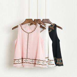 Femmes-Filles-Mousseline-De-Soie-Debardeur-T-shirt-Chemisier-Broderie