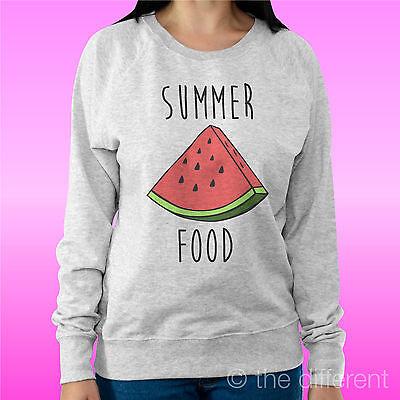 """Felpa Donna Leggera Sweater Grigio Chiaro """" Summer Food Anguria """" Idea Regalo Rinfrescante E Benefico Per Gli Occhi"""