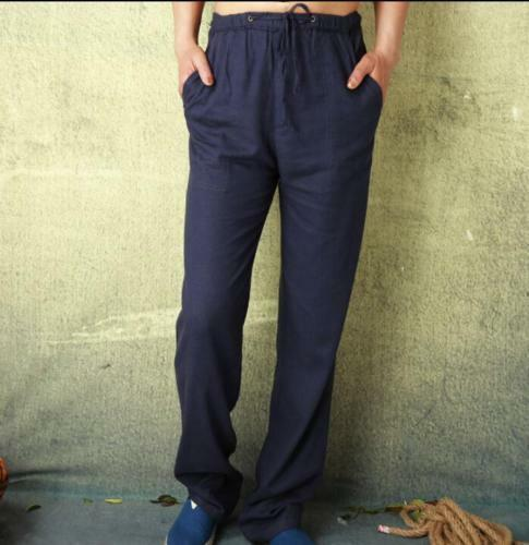 Men beach Pants loose Fit Trousers Sweatpants cotton linen trousers elastic New