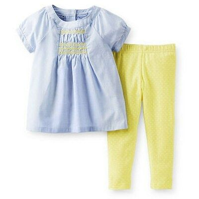 NEW Carter's 2 Piece Embroidered Blue Top & Yellow Leggings Set NWT 2T 3T