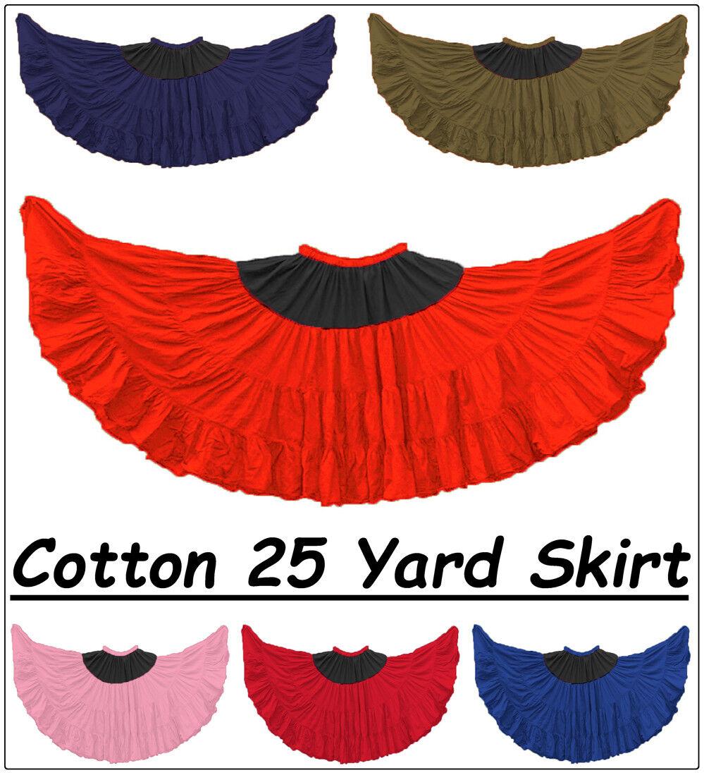 Women Cotton 25 Yard 4 Tier Double color Combination Flamenco ATS GYPSY Skirt