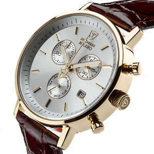 DETOMASO-Milano-Mens-Watch-Classic-Chronograph-Stainless-Steel-Gold-Plated-New