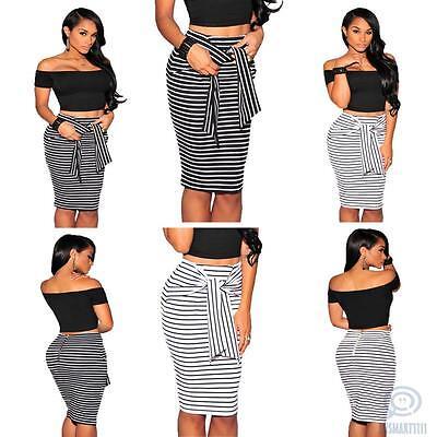 Womens Fashion Stripe Pencil Midi Skirt Formal Cocktail Office Casual Club Dress