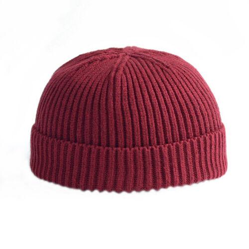 Men Women Retro Navy Style Beanie Hat Knitted Hat Sailor Skull Cap Cuff Brimless