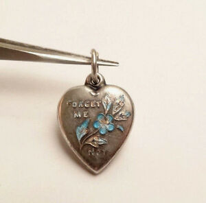 VINTAGE-PUFFY-HEART-FORGET-ME-NOT-FLOWER-BLUE-ENAMEL-STERLING-SILVER-CHARM