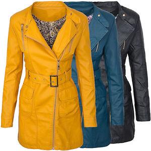 Donna-Finta-pelle-Giacca-Transizione-Cappotto-Stile-Biker-D-275-Nuovo