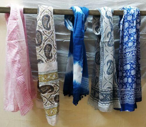 Indian Hand Block Print Fabric Women Cotton Long Sarong Dupata Stole Scarf-s