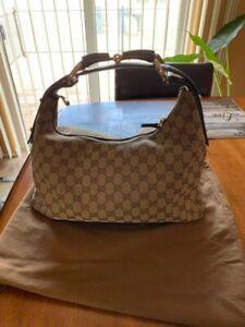 Gucci-Tan-GG-Canvas-Leather-Medium-Horsebit-Hobo-Bag