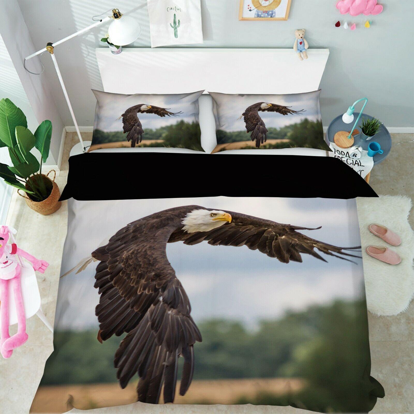 3D Eagle Flying Sky I25 Animal Bett Pillowcases Quilt Duvet Startseite Königin König An