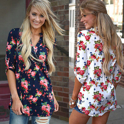 Fashion Womens Blouse Floral Long Sleeve Ladies V Neck Loose Casual T Shirt Tops